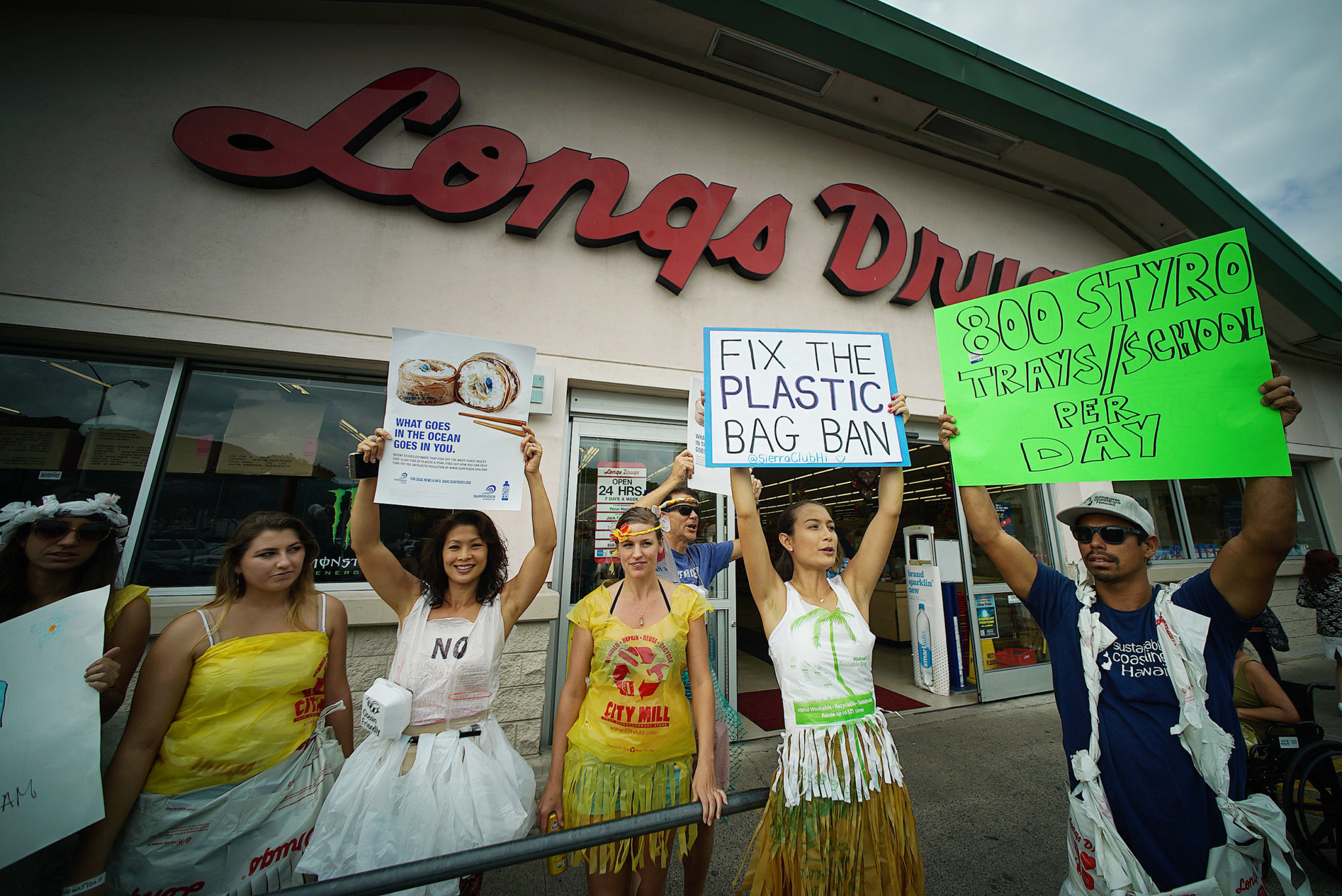 <p>In addition to wearing the products they want banned, protesters expressed their sentiments in signs outside Longs.</p>
