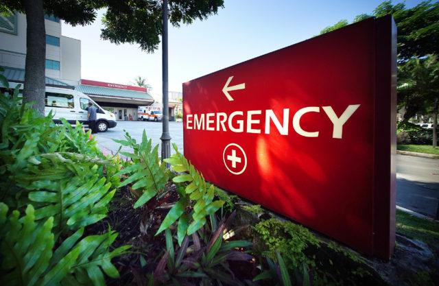 Queens Hospital Emergency sign. 14 feb 2017