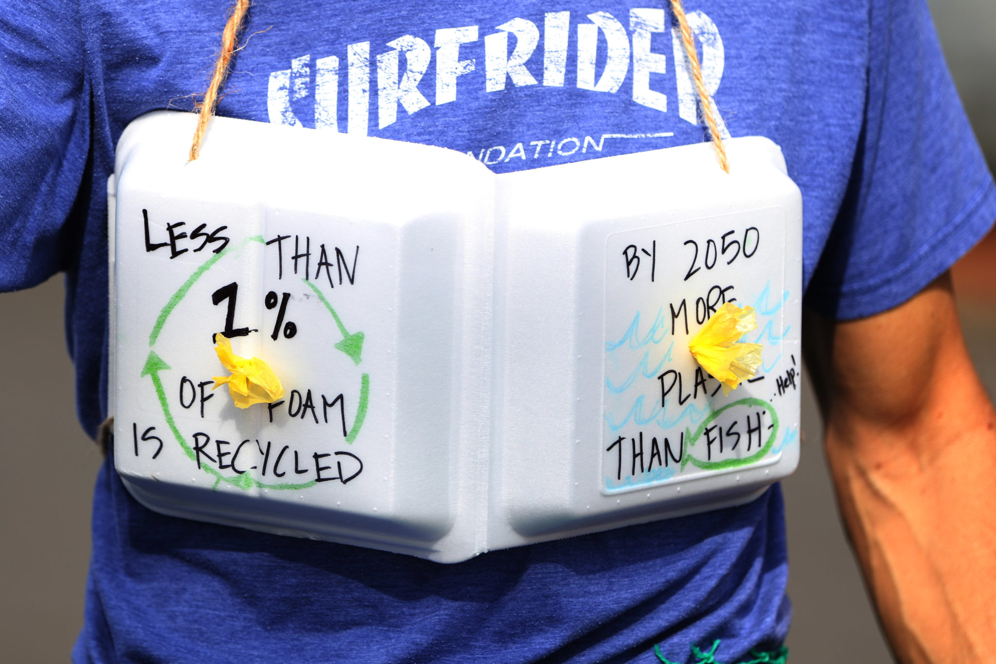 <p>A plastic foam shirt accessory was one of the looks on display during Friday&#8217;s &#8220;Trashion Show,&#8221; organized by Ocean Friendly Restaurants Hawaii, the Surfrider Foundation Oahu Chapter, the Sierra Club Oahu Group, Sustainable Coastlines Hawaii and the Kokua Hawaii Foundation.</p>