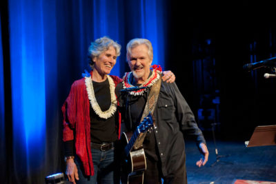 Musician, Actor & Rhodes Scholar Kris Kristofferson donates all proceeds from his show february 24th, 2017 at the Maui Arts & Cultural Center to na Keiki O Emalia Organization. He is pictured here with Brooke Brown, Exectutive Director of the organization as he leaves the stage.