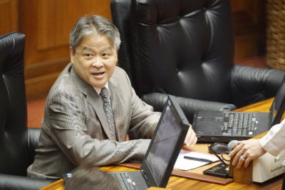 Representative Roy Takumi before 12pm session is convenened. 13 march 2017