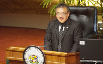 Vice Speaker John Mizuno leads House proceedings. 7 march 2017