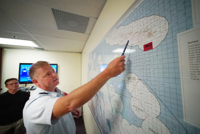 US Coast Guard Lt G Scott Carr map located in US Coast Guard offices at the Federal Building. 14 april 2017