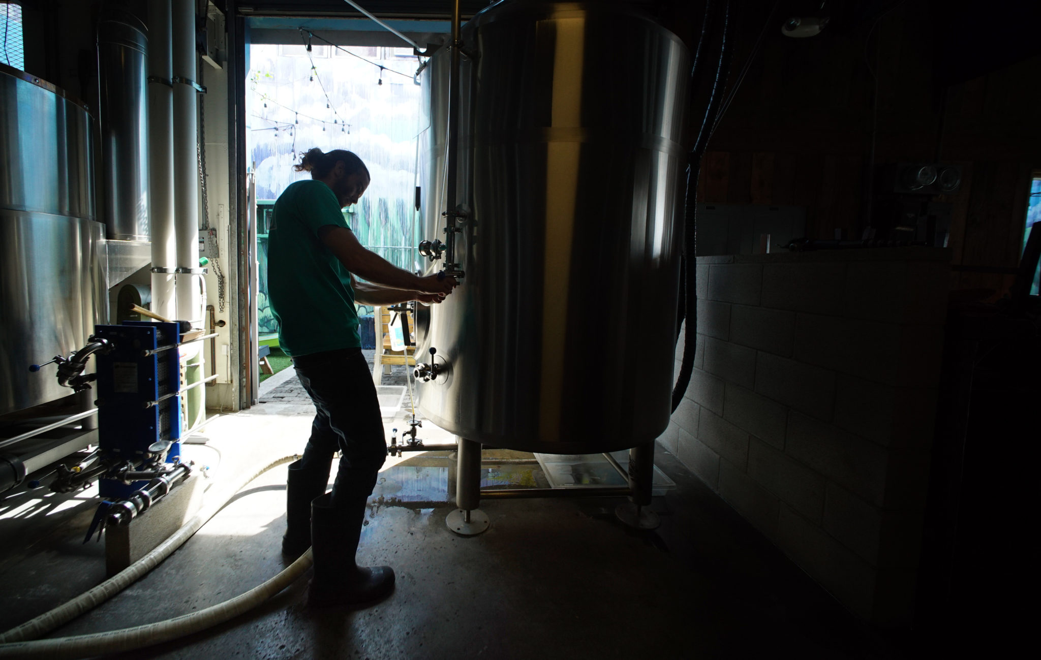 <p>Direnzo checks a tank of Kewalos Cream Ale after it was transferred from a fermentation vessel, perhaps to see if it fulfills the promise of the Honolulu Beerworks website: &#8220;The light malt flavors are balanced by a touch of herbal hops to provide a clean and crisp finish.&#8221;</p>