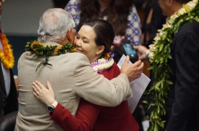 Sen Clarence Nishihara hugs outgoing WAM Chair Jill Tokuda. 4 may 2017