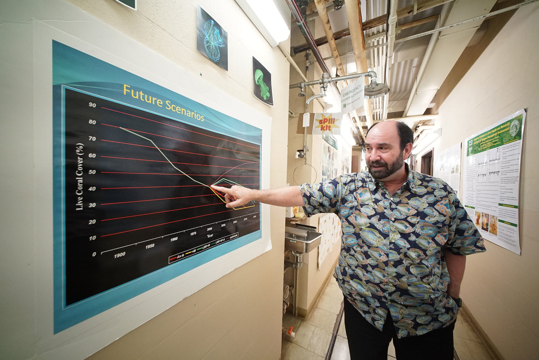 <p>Bob Richmond, who heads the Kewalo Marine Laboratory, explains future scenarios of corals. Unless local stressors like pollution runoff and overfishing are addressed along with the broader issue of climate change, particularly capping carbon emissions to slow global warming, corals may be doomed.</p>