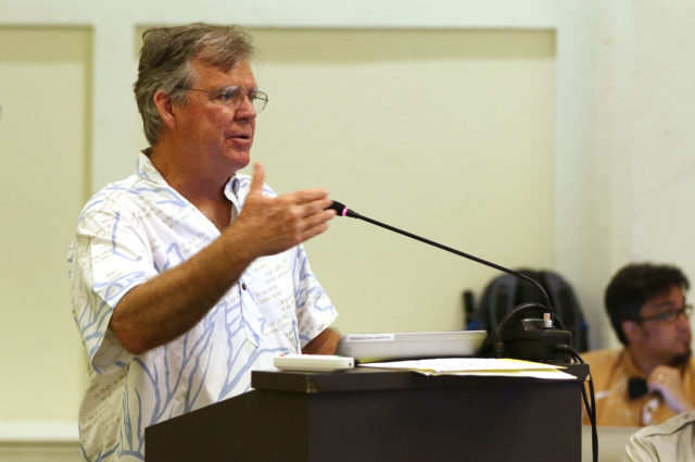 Dr Bruce Anderson DLNR Division of Aquatic Resources Chief speaks during WESPAC meeting held at Laniakea auditorium.
