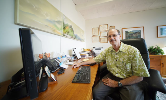 Dr. Stephen Kemble in his office located at 600 Kapiolani Boulevard, Suite 402. 9 june 2017