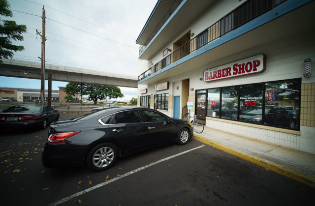 Harvey's Barbershop located in Waipahu along the rail route. 94-216 Farrington Highway.