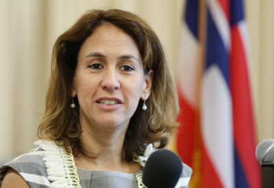 Hawaii Education Superintendent Christina Kishimoto at press conference held at the BOE building. 7 june 2017