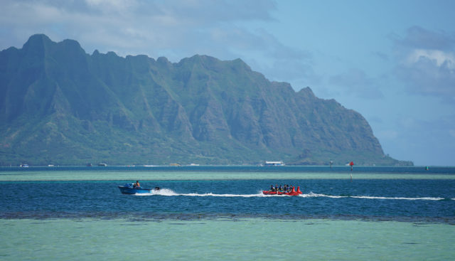 People enjoy some water activities at Kaneohe Bay.