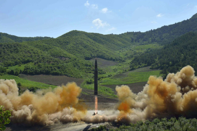 "FILE - This July 4, 2017 file photo, distributed by the North Korean government shows what was said to be the launch of a Hwasong-14 intercontinental ballistic missile in North Korea. Hawaii is the first state to prepare the public for the possibility of a ballistic missile threat from North Korea. The state's Emergency Management Agency on Friday, July 21, 2017 announced a public education campaign. Agency Administrator Vern Miyagi says because it would take a missile about 15 minutes to arrive, there won't be much time to prepare. He says that's why instructions are simple: ""Get inside, stay inside and stay tuned."" (Korean Central News Agency/Korea News Service via AP, File)"