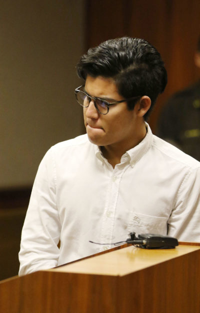 Christian Gutierrez addresses gallery and apologizes in Judge Jeanette Castagnetti's courtroom.