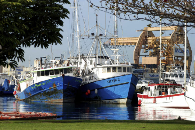 FILE - This Feb. 2, 2017 file photo commercial fishing boats are docked at Pier 38 in Honolulu. A Native Hawaiian fisherman is asking an environmental court to stop Hawaii officials from issuing commercial fishing licenses to those who aren't legally admitted into the United States. Malama Chun filed a petition in response to an Associated Press investigation that found hundreds of foreign fishermen confined to boats and some living in subpar conditions. The state Board of Land and Natural Resources denied his petition. (AP Photo/Caleb Jones, File)
