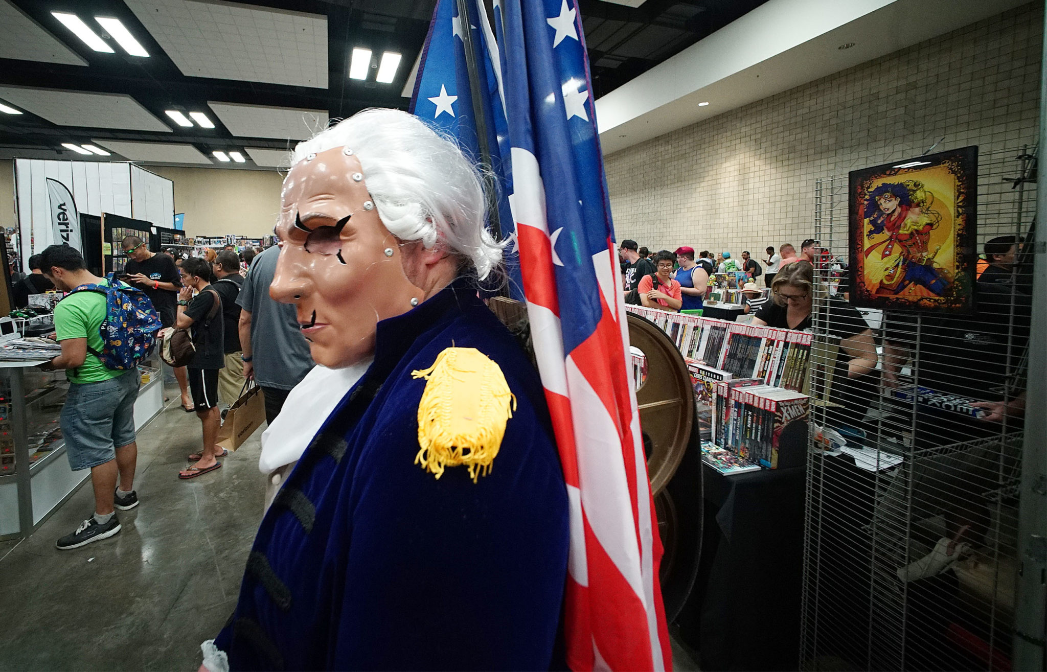<p>Cole Poziembo was a Motorized Patriot depicting George Washington. Other versions of the video game characters include Abraham Lincoln and Benjamin Franklin.</p>