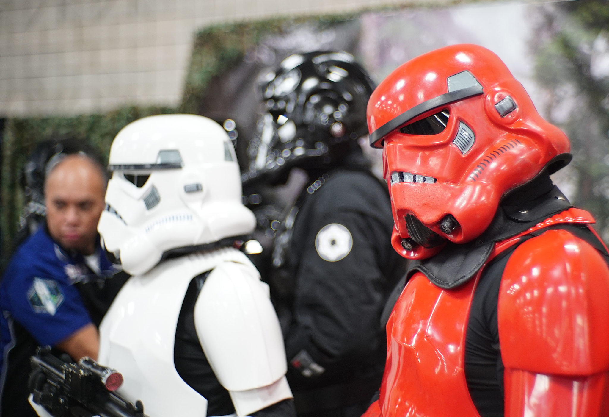 <p>&#8220;Star Wars&#8221; stormtroopers pose for photographs with attendees at the third annual comics convention.</p>