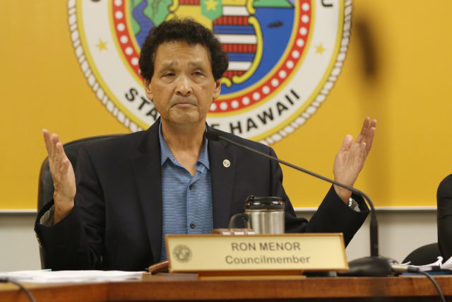 Honolulu City Council Chair Ron Menor gestures during discussion of Bill 69.