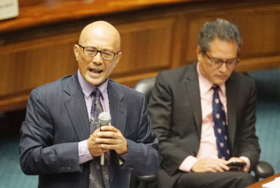 Senator Will Espero speaks in support SB4 rail bill before final seante floor vote.