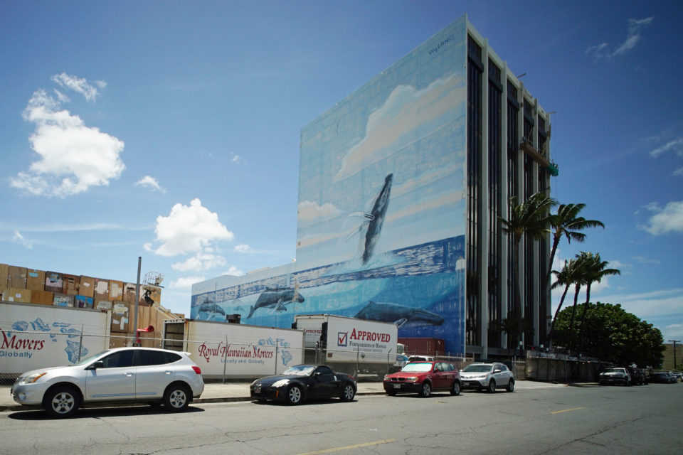 Ualena Street building Wyland Whale mural painting.