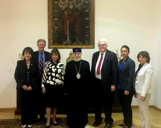 Congressional delegation, including U.S. Rep. Tulsi Gabbard, second from left, discusses problems in self-proclaimed Republic of Artsakh with Supreme Patriarch Karekin II of Armenian church