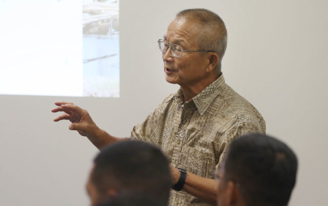 Vern Miyagi, Administrator for the Hawaii Emergency Management Agency speaks to lawmakers in room 225 before i was kicked out. Emergency Management meeting on N Korea Nuclear Attack.