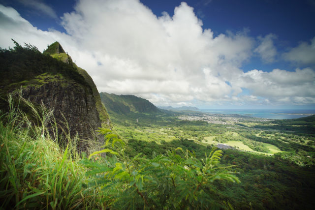 Pali Lookout overlooking Kaneohe Bay.