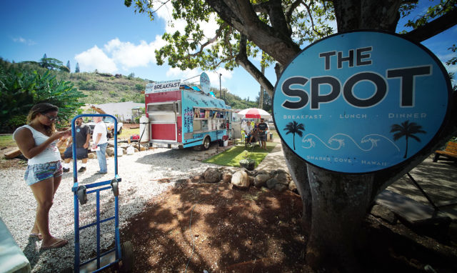 The Spot lunch wagon at the Pupukea location across of Sharks Cove.