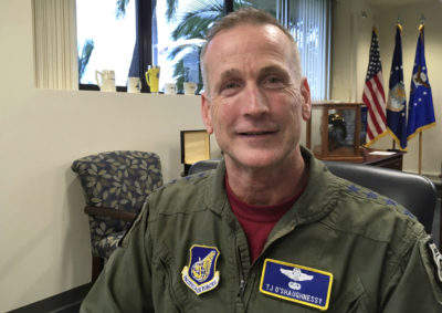In this Friday, Sept. 29, 2017, photo, Gen. Terrence O'Shaughnessy, U.S. Pacific Air Forces commander, speaks during an interview at Joint Base Pearl Harbor-Hickam, Hawaii. The U.S. Air Force's top Asia-Pacific commander says his troops haven't changed the way they operate in response to North Korea's assertion that it would have the right to shoot down U.S. bombers even in international airspace. (AP Photo/Audrey McAvoy)