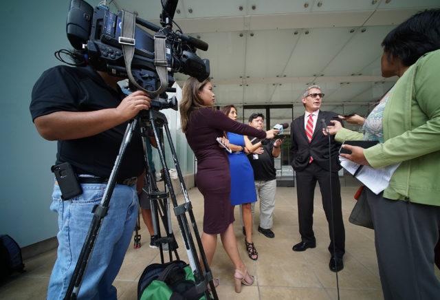 Attorney Myles Breiner speaks to media outside US District Court.