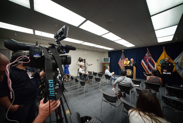 Chair Honolulu Police Commission Max Sword speaks to media with acting HPD Chief Cary Okimoto at press conference held at HPD headquarters. 20 dec 2016