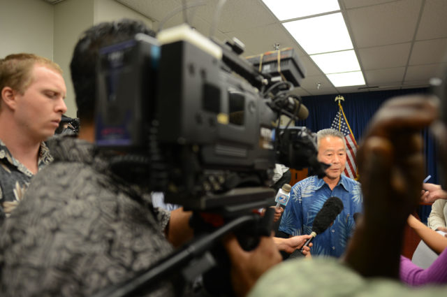 Honolulu Police Commissioner Chair Ronald Taketa speaks to media after executive sessions held at HPD headquarters conference room. photograph Cory Lum/Civil Beat