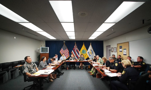 Right, HPD Chief Louis Kealoha during HPD commission meeting held at HPD headquarters. 7 april 2016.