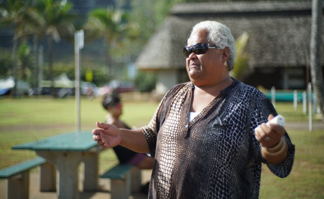 Aunty Lavina Aina speaks to reporter at Waimanalo Beach Park.