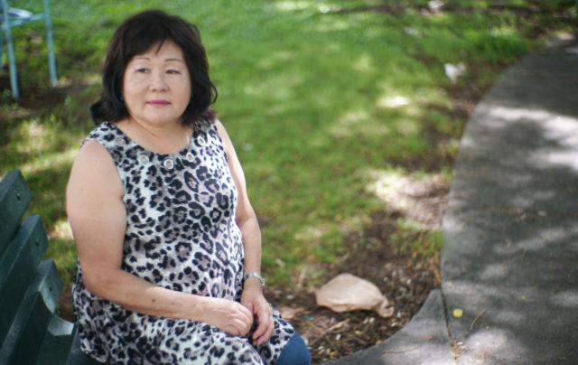 Ala Moana story Linda Nakagawara sits at Pawaa Inha Park.