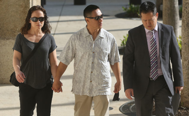 Center, Bobby Nguyen arrives at District Court. Kealoha Case.