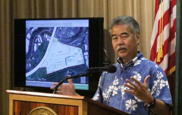 Governor David Ige prison press conference announcing the Animal Quarantine location will be the future prison location.