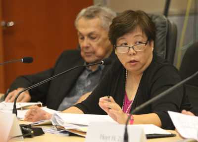 HART Board Member Ember Shinn asks questions about the budget line items during meeting today.
