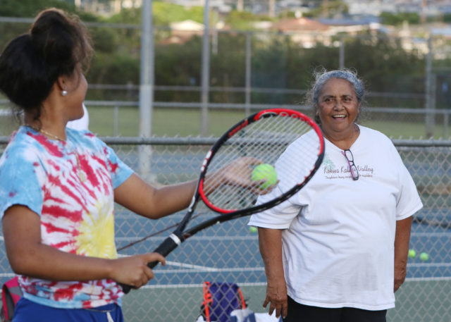 Kalihi Tennis Coach Vailima Watson coaches at Kalihi District Park with her husband Jerry Watson.