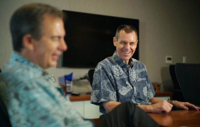 Hawaiian Airlines CEO Mark Dunkerley with right incoming CEO Peter Ingram at interview held at the corporate offices.