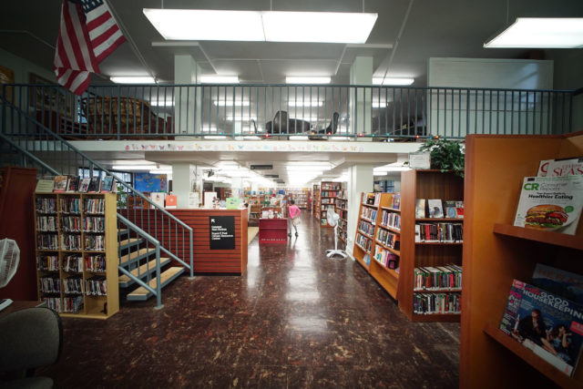 Makiki Community Library with kids section and nonfiction upstairs.