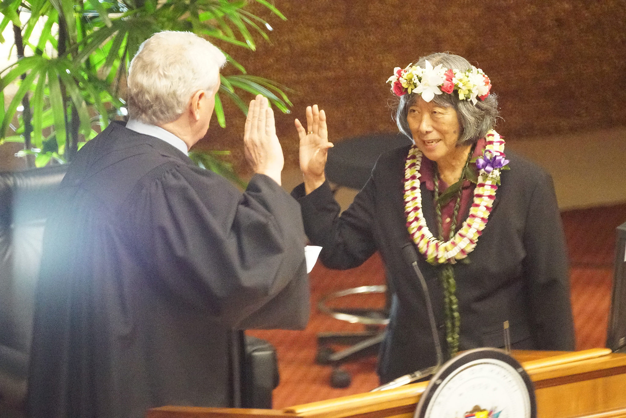 <p>Lei Learmont was sworn in as a representative by Supreme Court Chief Justice Mark Recktenwald. She represents District 46, which includes Wahiawa and Whitmore Village, replacing Marcus Oshiro, who resigned to join the Hawaii Labor Relations Board.</p>