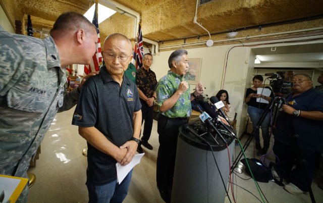 Hawaii Civil Defense Vern Miyagi Governor David Ige speak to reporters during press conference held at the Diamond Head Emergency Operating Center.