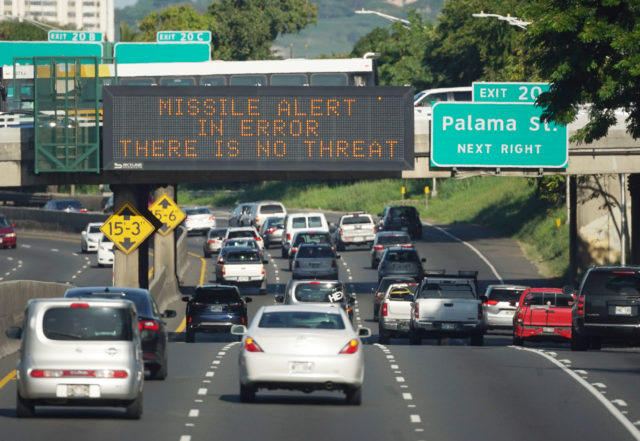 North Korean 'Missile Alert in Error There is No Threat' alert was accidentally sent out by an accidental push of the wrong button. Hawaii. Photograph Cory Lum