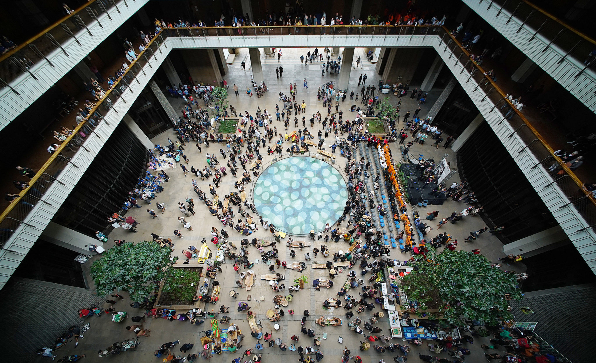 <p>The Capitol Rotunda was crowded with students and Native Hawaiian demonstrators as the Hawaii Legislature convened a new session Wednesday.</p>