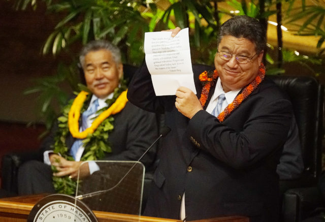 Senate President Ron Kouchi jokes about speech following Gov David Ige's State of the State 2018 speech at the House chamber.