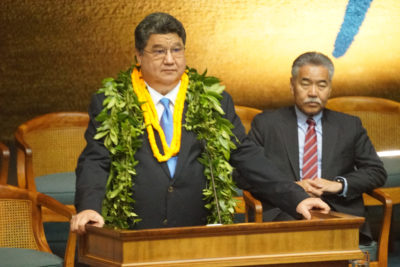Senate President Ron Kouchi with Governor Ige during opening day of the 29th Legislature.