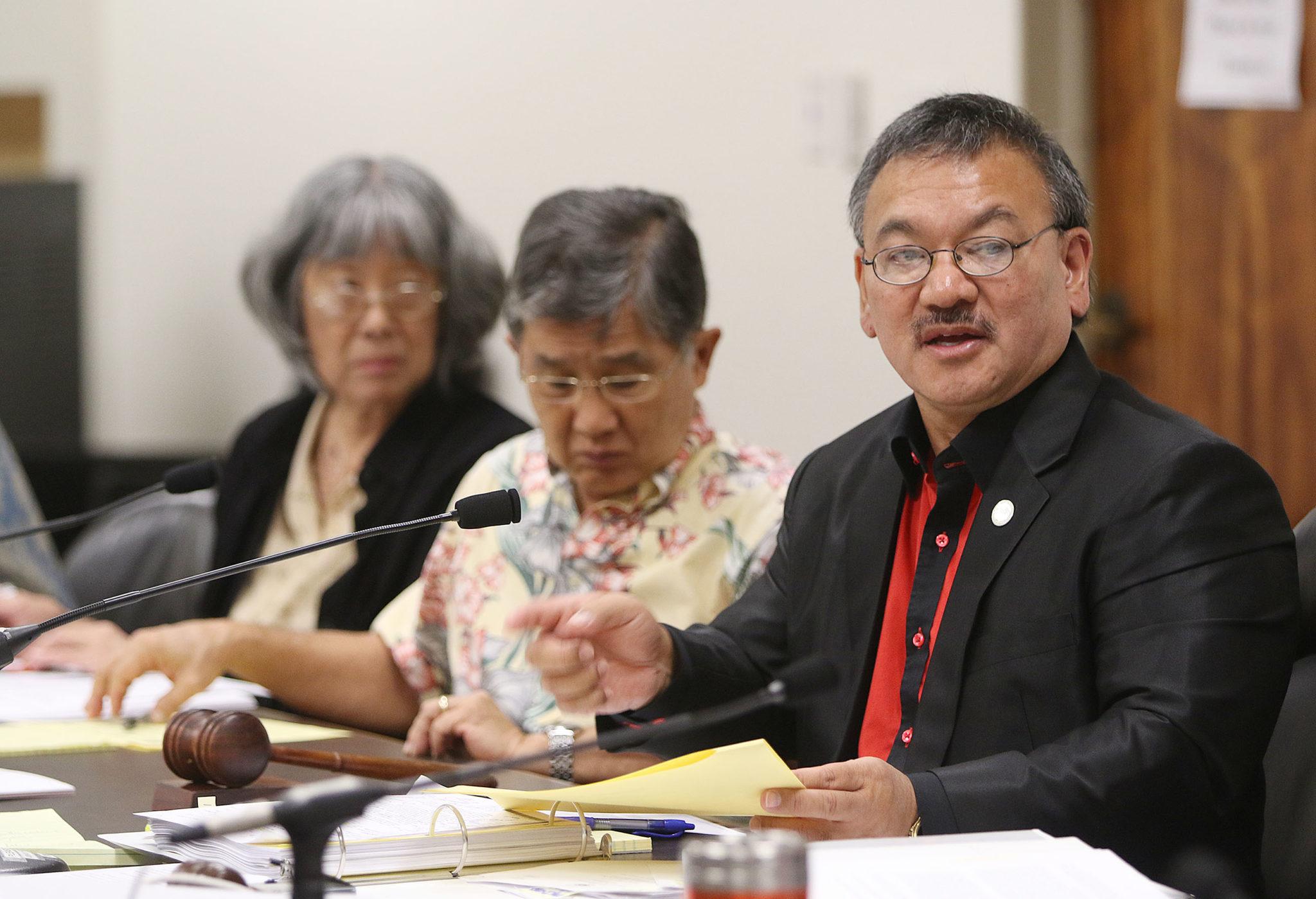 Chair Rep John Mizuno during hearing at the Capitol.