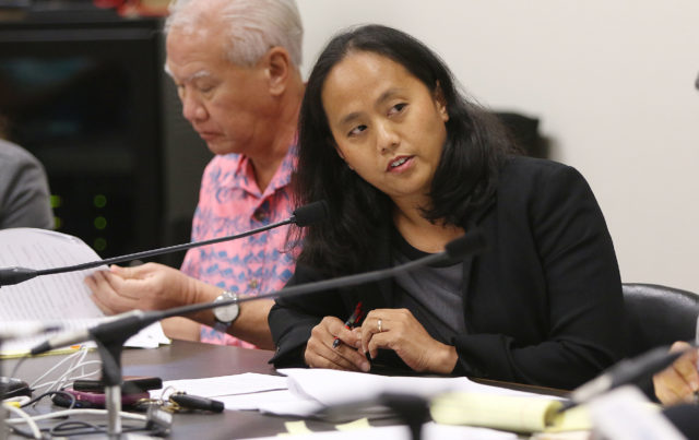 Majority Leader Rep Della Au Belatti speaks to committee members before vote on HB Death with Dignity measure in Captiol room 329.