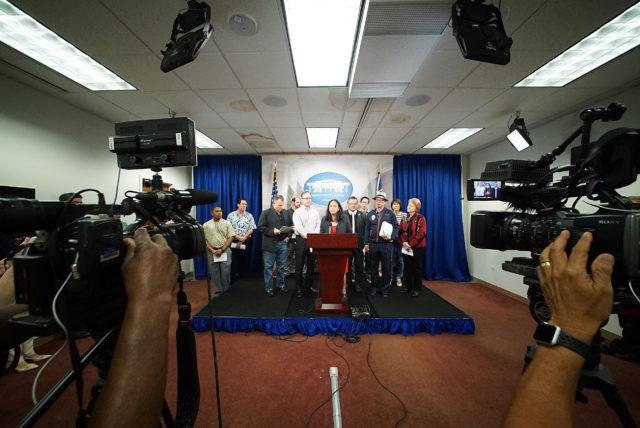 Rep Della Au Belatti Homeless Ohana Safe Zones after signing a $30 million bill.