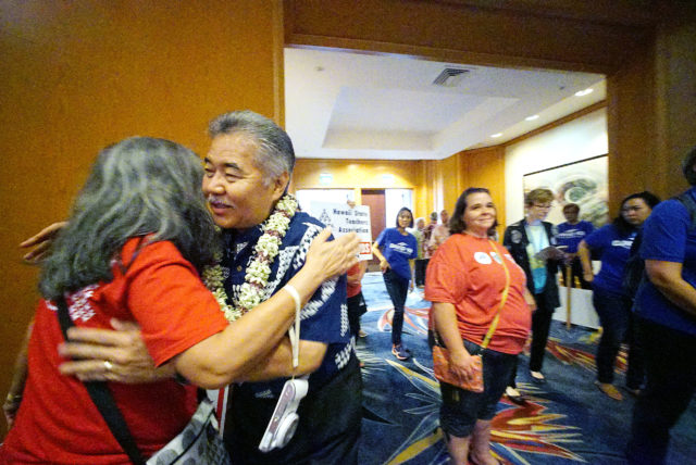 2018 Democratic Convention Governor David Ige greets supporters at the the Hilton Waikaloa located in Kona, Hawaii.